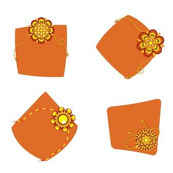 Schöne florale rakhis mit platz für text in vier schritten.