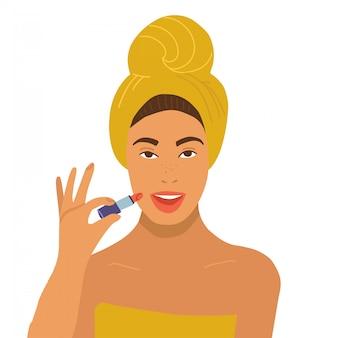 Schöne frau im gelben handtuch hält lippenstift und macht sich. auf weißem hintergrund isoliert. flache abbildung. idee für kosmetik, spa-behandlung, kosmetologie, schönheitsklinik chirurgie.