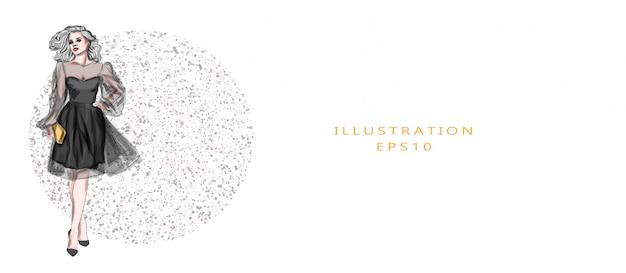 Schöne frau im schwarzen kleid handgezeichnete modeskizze. abstrakte moderne mädchenillustration auf weißem hintergrund für maskenbildner-geschäftsbesuchskartenentwurf.