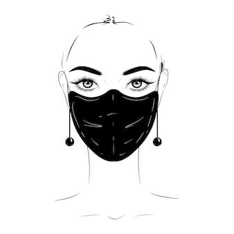 Schöne frau in der schwarzen medizinischen maske