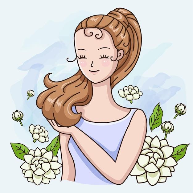 Schöne frau mit dem duft von jasmin