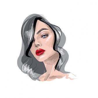 Schöne frau mit hellem make-up. lange wimpern und lidschatten. roter lippenstift.