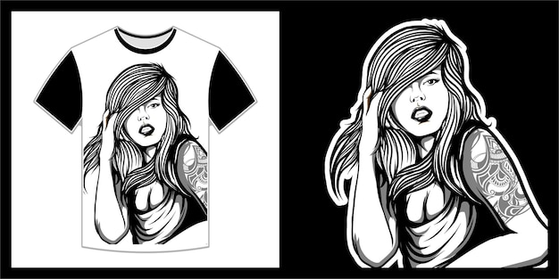 Schöne frau mit langen haaren, t-shirt-design