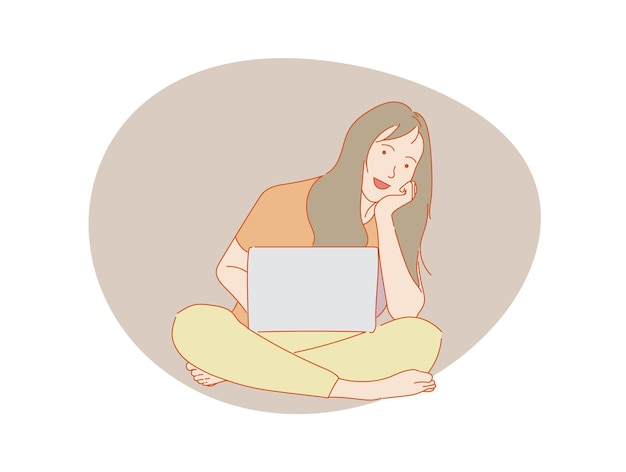 Schöne frau oder nettes mädchen, das vor computerlaptop, bunter vektor sitzt