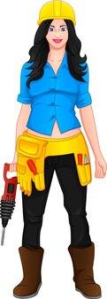 Schöne frau posiert im projektarbeiter-outfit