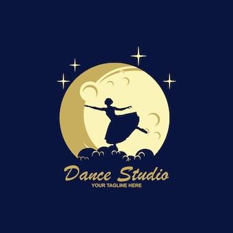 Schöne frau tanzt logo-design-konzept-vorlage
