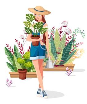 Schöne frauen halten blumentopf und gießkanne. bauernmädchen mit sommerhut. cartoon charakter design. viele blumentöpfe auf hintergrund. flache illustration auf weiß.
