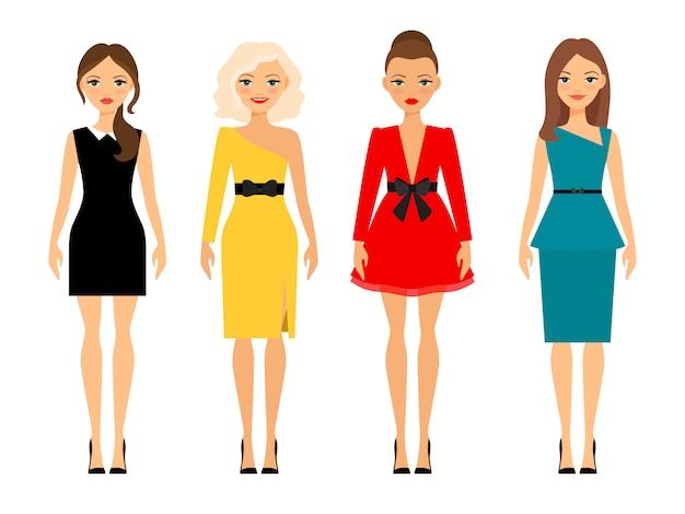 Schöne frauen in verschiedenen stil farbigen kleidern