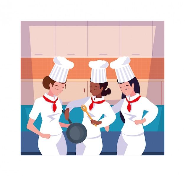 Schöne frauen kochen, koch in der weißen uniform