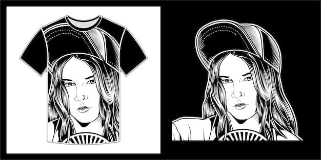 Schöne frauen tragen hüte, t-shirt-design