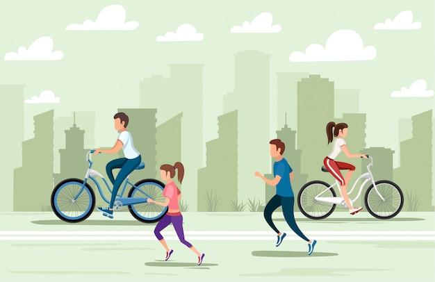 Schöne frauen und männer, die fahrrad fahren und laufen. menschen in sportbekleidung. zeichentrickfigur . illustration auf stadtlandschaftshintergrund. website-seite und mobile app
