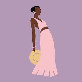 Schöne frauenillustration im modernen modehintergrund des boho-kunststils