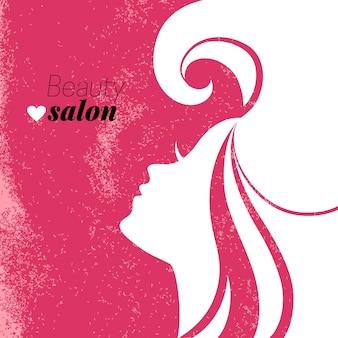 Schöne frauensilhouette. schönheitssalon-plakat. vektor-illustration