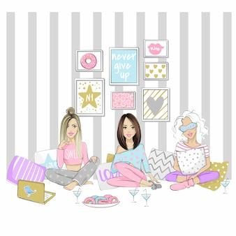 Schöne freundinnen auf einer pyjama-party. set mit süßen mädchen.