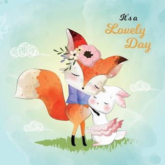 Schöne freundschaft zwischen dem fuchs und dem kaninchen