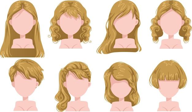 Schöne frisur der blonden haarfrau und trendiger haarschnitt