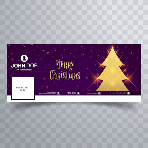 Schöne fröhliche weihnachtsbaum facebook-fahnenschablone