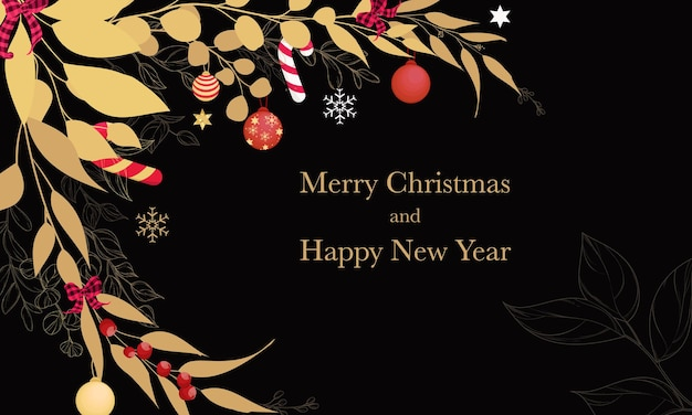Schöne frohe weihnachtskarte mit goldenen blättern und weihnachtsschmuck