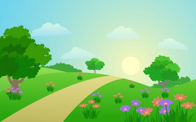 Schöne frühlingslandschaft mit blumengarten und fußweg