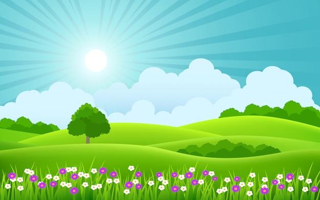 Schöne frühlingslandschaft mit bunten blumen und sonnenstrahl