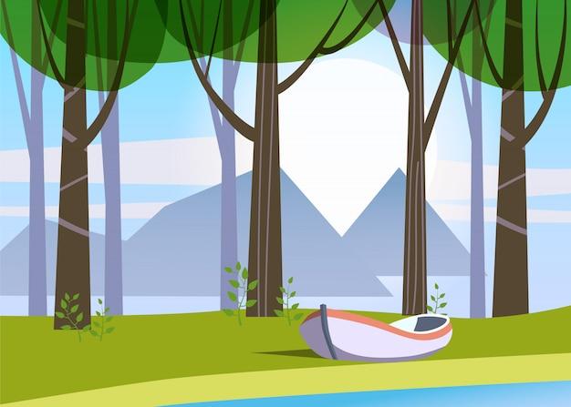 Schöne frühlingswaldbäume, grünes laub, landschaft, büsche, schattenbilder von stämmen, horizont, boot, see