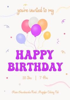 Schöne geburtstagsgrußkarte mit luftballons und wünschen