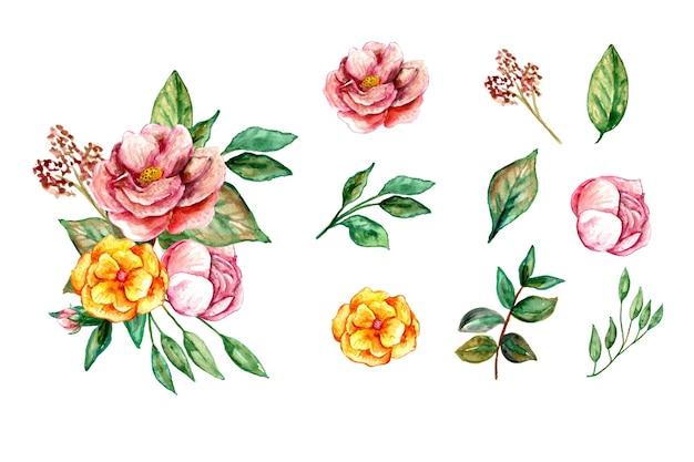 Schöne gesetzte aquarellblumenblumenstraußelemente