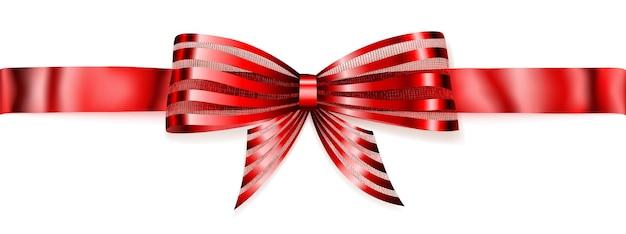 Schöne gestreifte rot glänzende schleife mit horizontalem band mit schatten