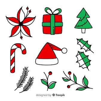 Schöne gezeichnete art der weihnachtselemente hand
