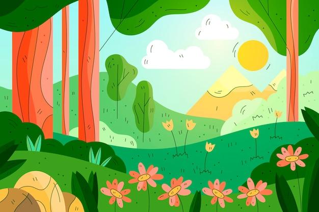Schöne gezeichnete frühlingslandschaftstapete