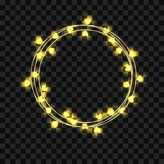 Schöne girlande mit herzförmigen glühbirnen