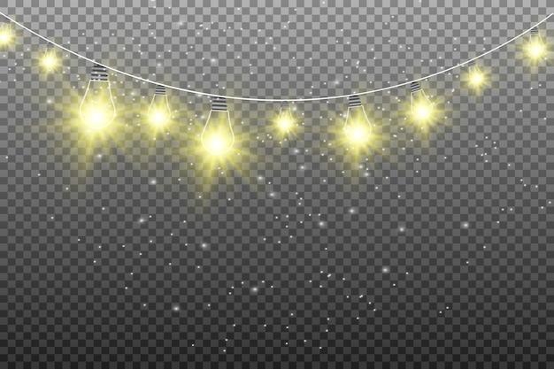 Schöne girlandenlichter isoliert. leuchtende lichter