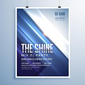 Schöne glänzende abstrakte musik-party-flyer-vorlage mit blauen streifen und leuchtende lichter