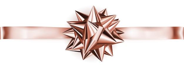 Schöne glänzende schleife in bronzefarbe mit horizontalem band mit schatten