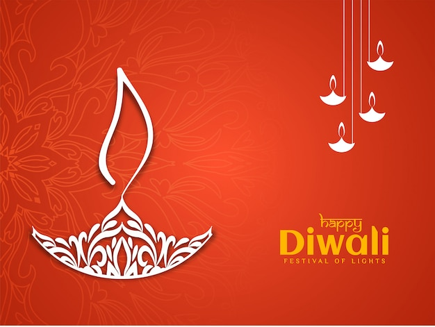 Schöne glückliche dekorative rote farbe diwali