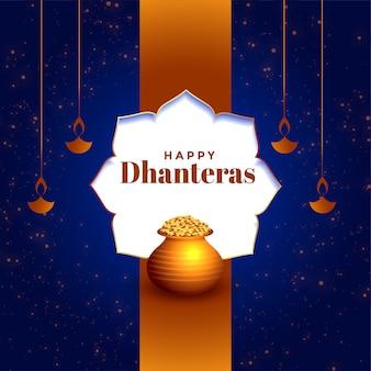Schöne glückliche dhanteras festivalkarte mit goldenem topf