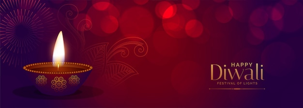 Schöne glückliche diwali festival bokeh banner