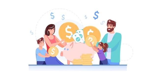 Schöne glückliche familienfiguren der schönen karikaturwohnung setzen goldmünzen in sparschwein