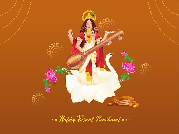 Schöne göttin saraswati skulptur mit heiligen büchern, blumen und beleuchteter öllampe (diya) für glückliches vasant panchami.
