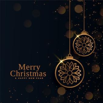 Schöne goldene bälle der frohen weihnachten