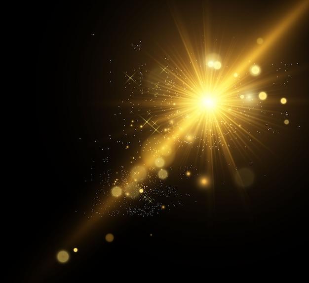 Schöne goldene illustration eines sterns auf einem durchscheinenden hintergrund mit goldstaub und glitzern.