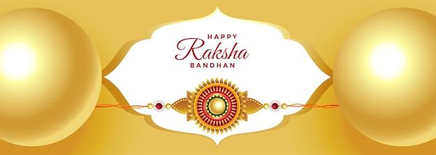 Schöne goldene rakshan bandhan festival banner