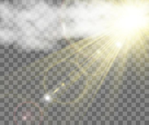 Schöne goldene vektorgrafik eines sterns auf durchscheinendem hintergrund mit goldstaub und glitzer