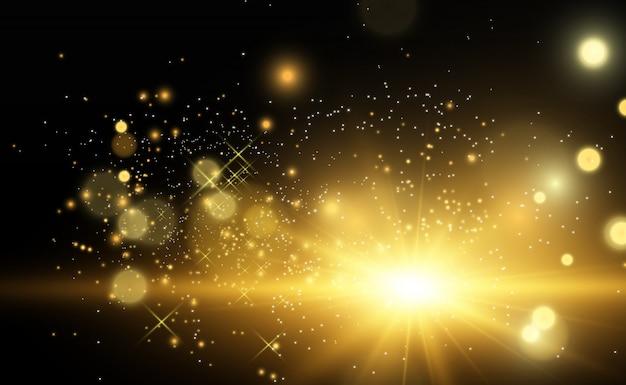 Schöne goldene vektorillustration eines sterns auf einem durchscheinenden hintergrund mit goldstaub und glitzern. eine prächtige lichtbasis für ihre.