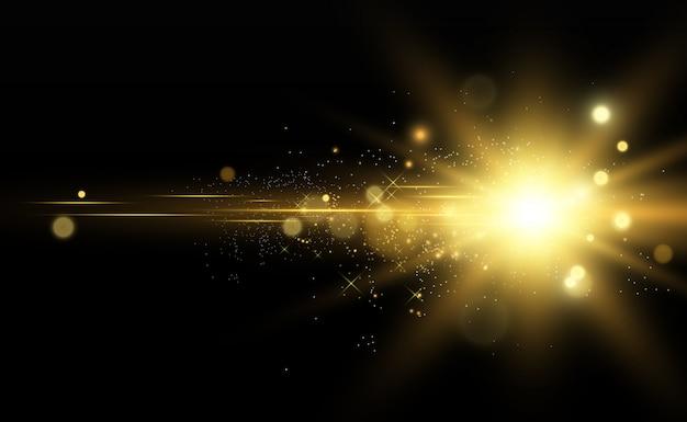 Schöne goldene vektorillustration eines sterns auf einem durchscheinenden hintergrund mit goldstaub und glitzern.