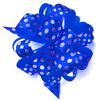 Schöne große schleife aus blauem band in tupfen mit schatten auf weißem hintergrund