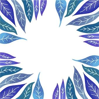 Schöne grün-blau-violett-lila blätter, platz für text in der mitte, rahmen.
