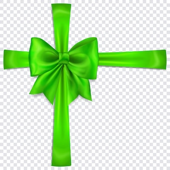 Schöne grüne schleife mit quer verlaufenden bändern mit schatten auf transparentem hintergrund
