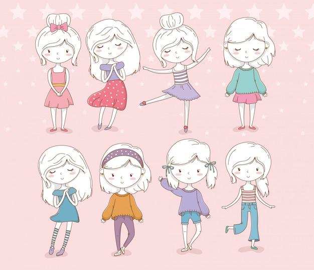 Schöne gruppe der kleinen mädchen mit pastellfarben