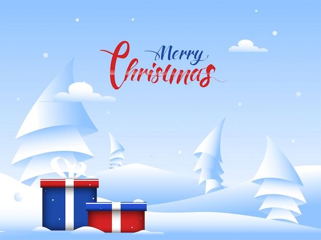 Schöne grußkarte mit geschenkboxen und papier schnitt weihnachtsbaum auf schneebedecktem für feier der frohen weihnachten.